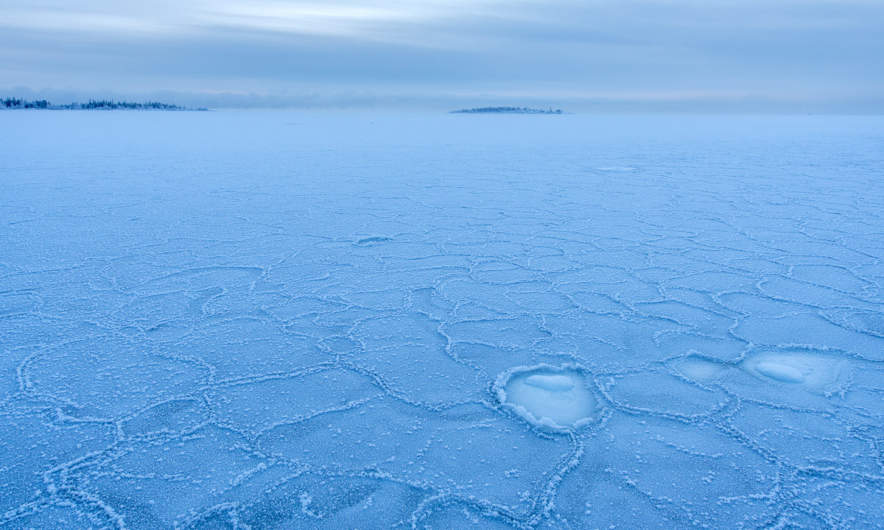 The Baltic Sea is covered with ice.