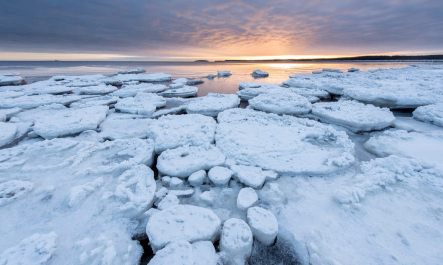 Ice floes at the beach of Byske