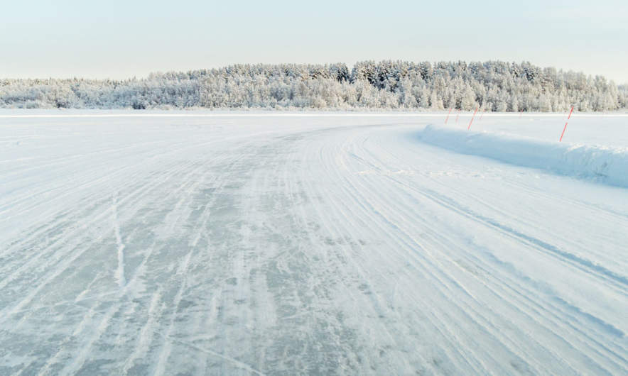 Ice road in Avan II –crossing the river Luleälven