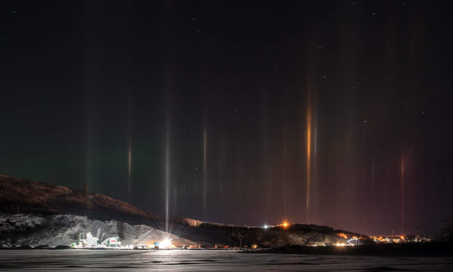 Lightpillars above the fjord