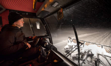 Ørjan is driving the snowcat