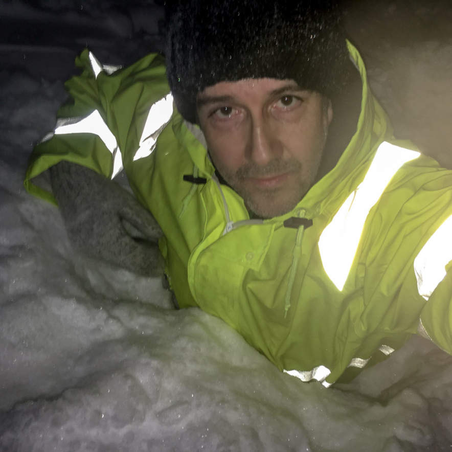Sinking chest deep in my own snow pile