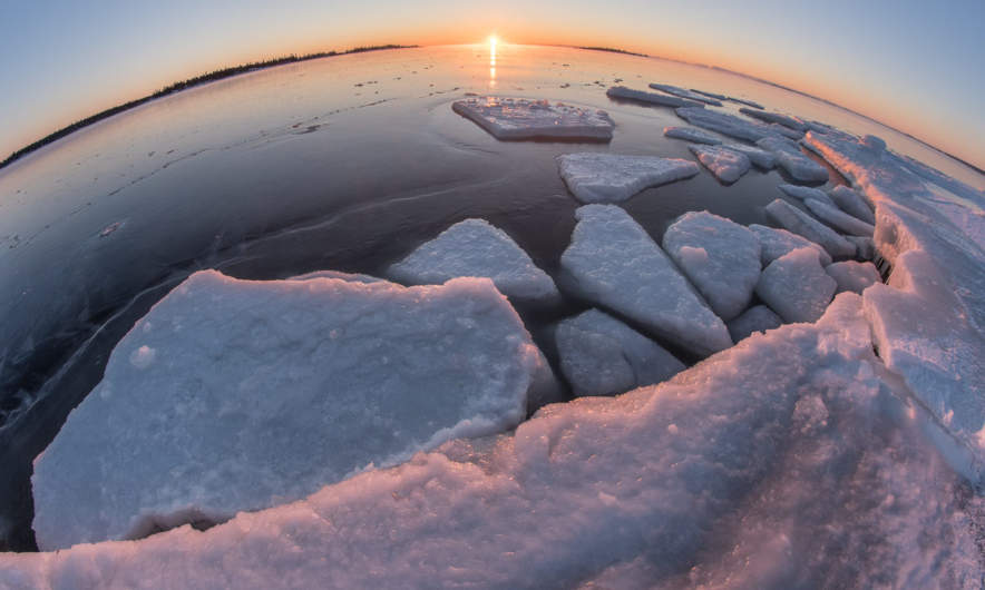 Icy sunrise through the fisheye lens
