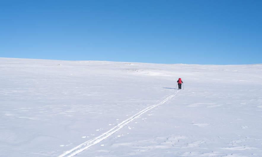 Annika ascending the slope