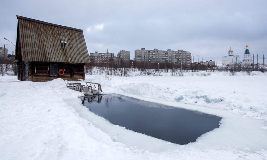 The ice swimming pool in Murmansk