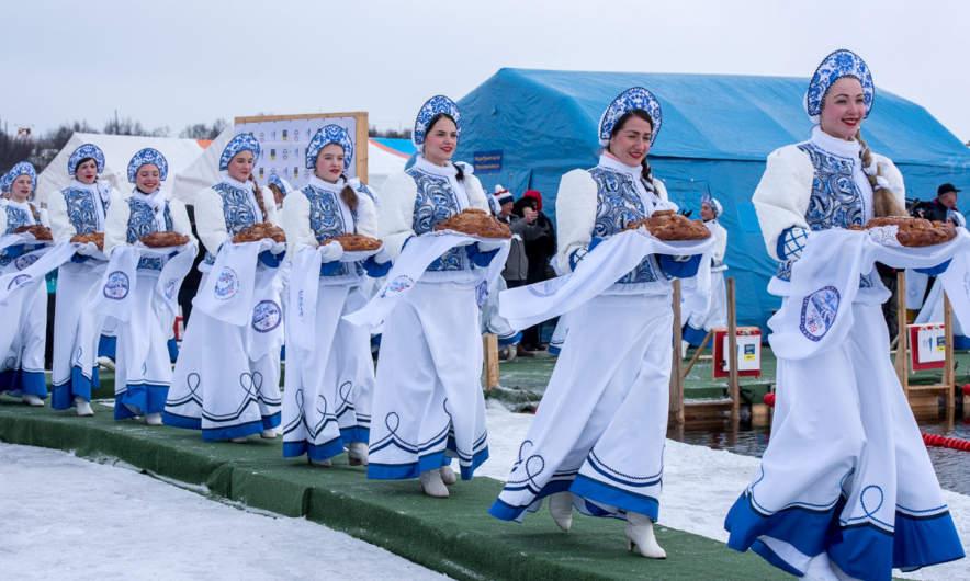 Russian women holding bread and salt