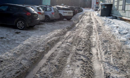Dirty snow on a small street
