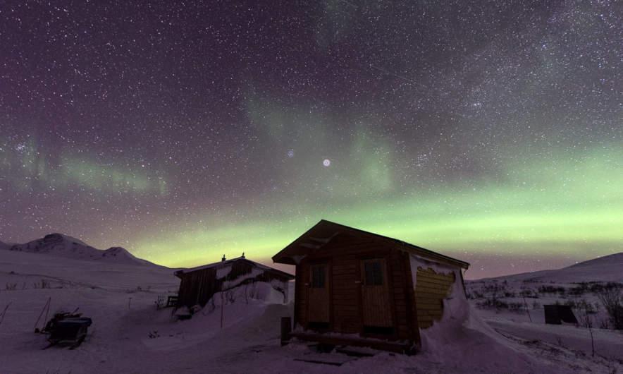 Starry night and polar lights
