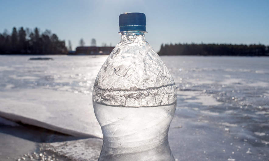 Frost in the water bottle