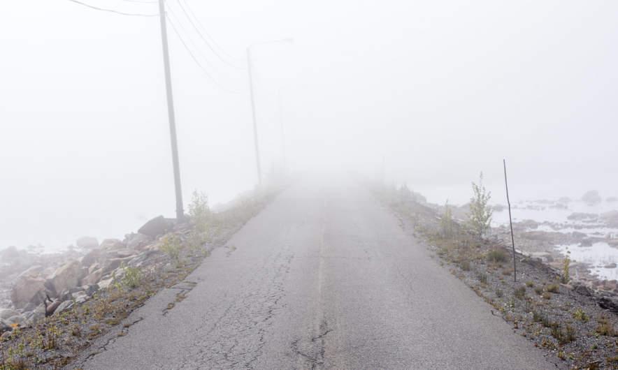 Road in the sea fog