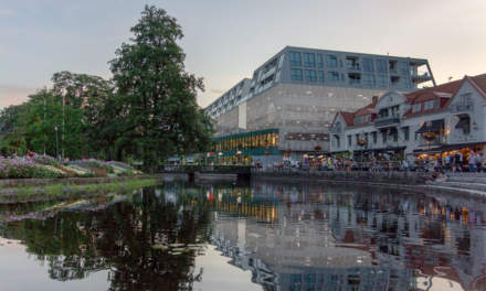 Borås reflected in the river Viskan