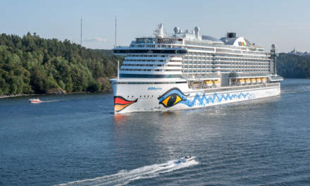 A Cruise ship leaving Stockholm