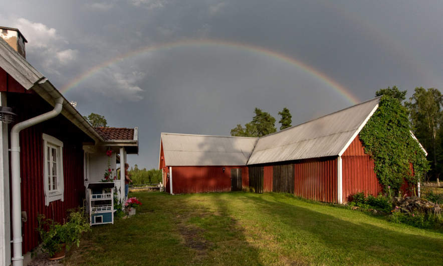 A rainbow above our host's house
