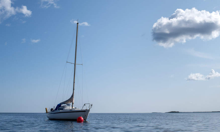 An anchored sailing boat