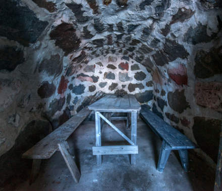 Inside the small brick-built cellar