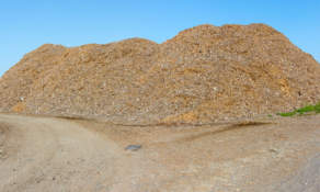 Piled wood chips