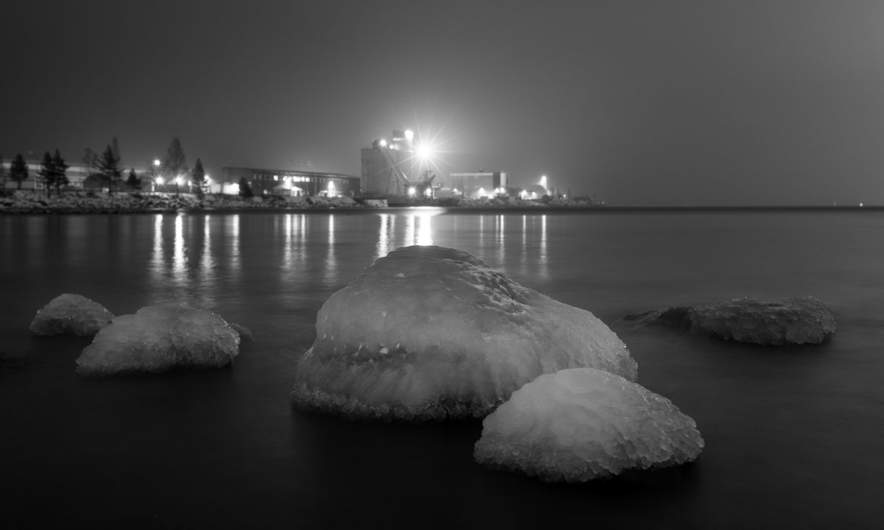 Night shot – ice covered rocks