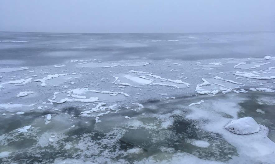Fog and ice on the Baltic Sea in Skelleftehamn
