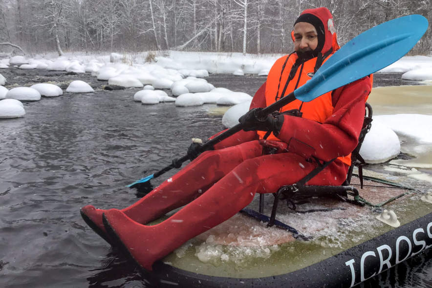 Me paddling on the ICROSS I (Photo: Hans Brettschneider)