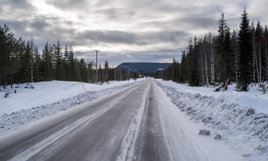 A typical Swedish road in wintertime