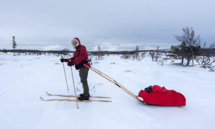 Jonas with his wooden Tegsnäs skis and pulka