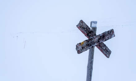 Old wooden winter waymark