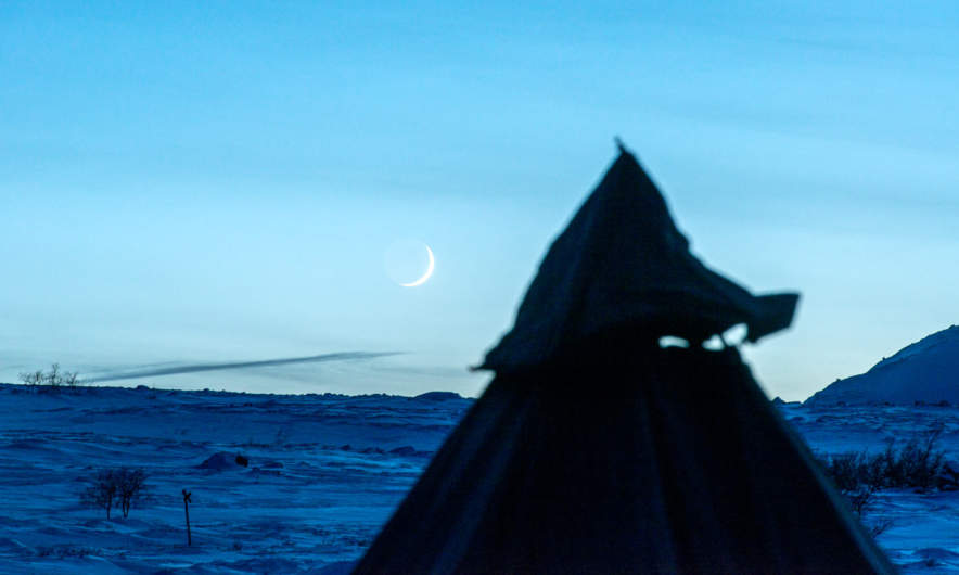 The new moon above the tent