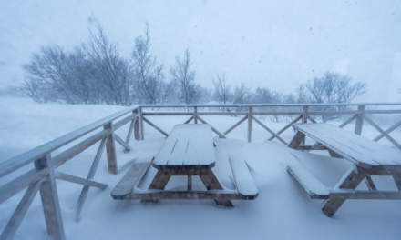 The terrace is snowing in