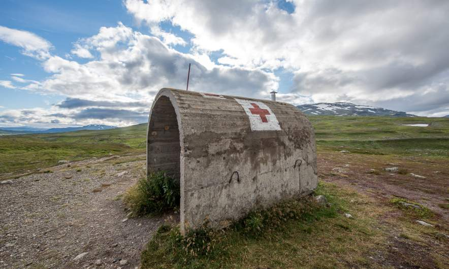 Old red cross shelter