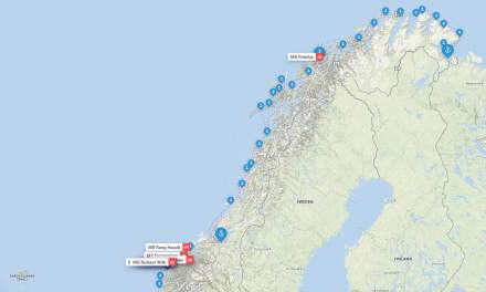 Today's map of Hurtigruten ships in Northern Norway