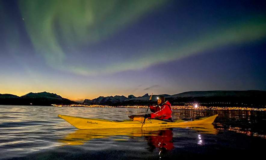 Me kayaking under the aurora (Photo: Tim Vanhoutteghem – True North Adventures)