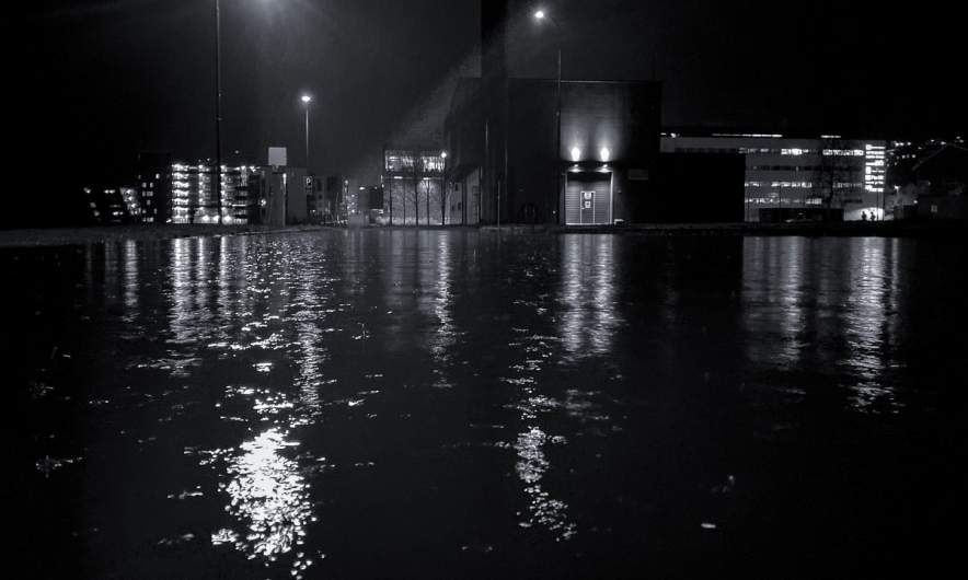 Way from work I –flooded parking place