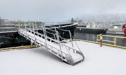 Snow on the gangway, Tromsø