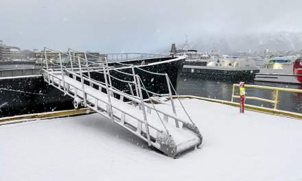 Snow on the gangway, Tromsø