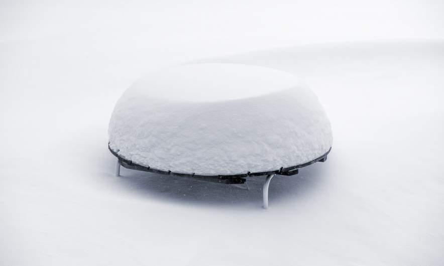 Snow covered table on our terrace