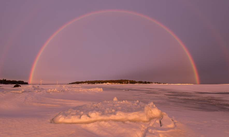 Rainbow over the sea ice