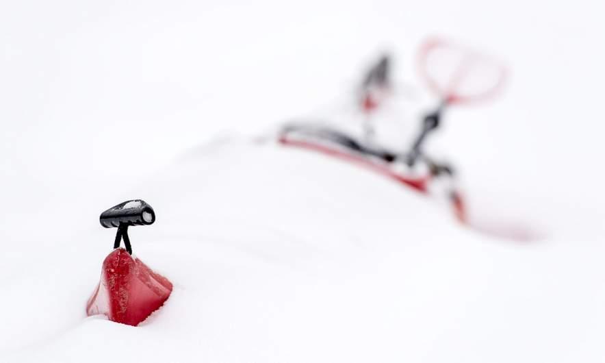 Psst! My kayak sleeps in the snow!