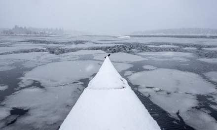 Kayaking through the slush